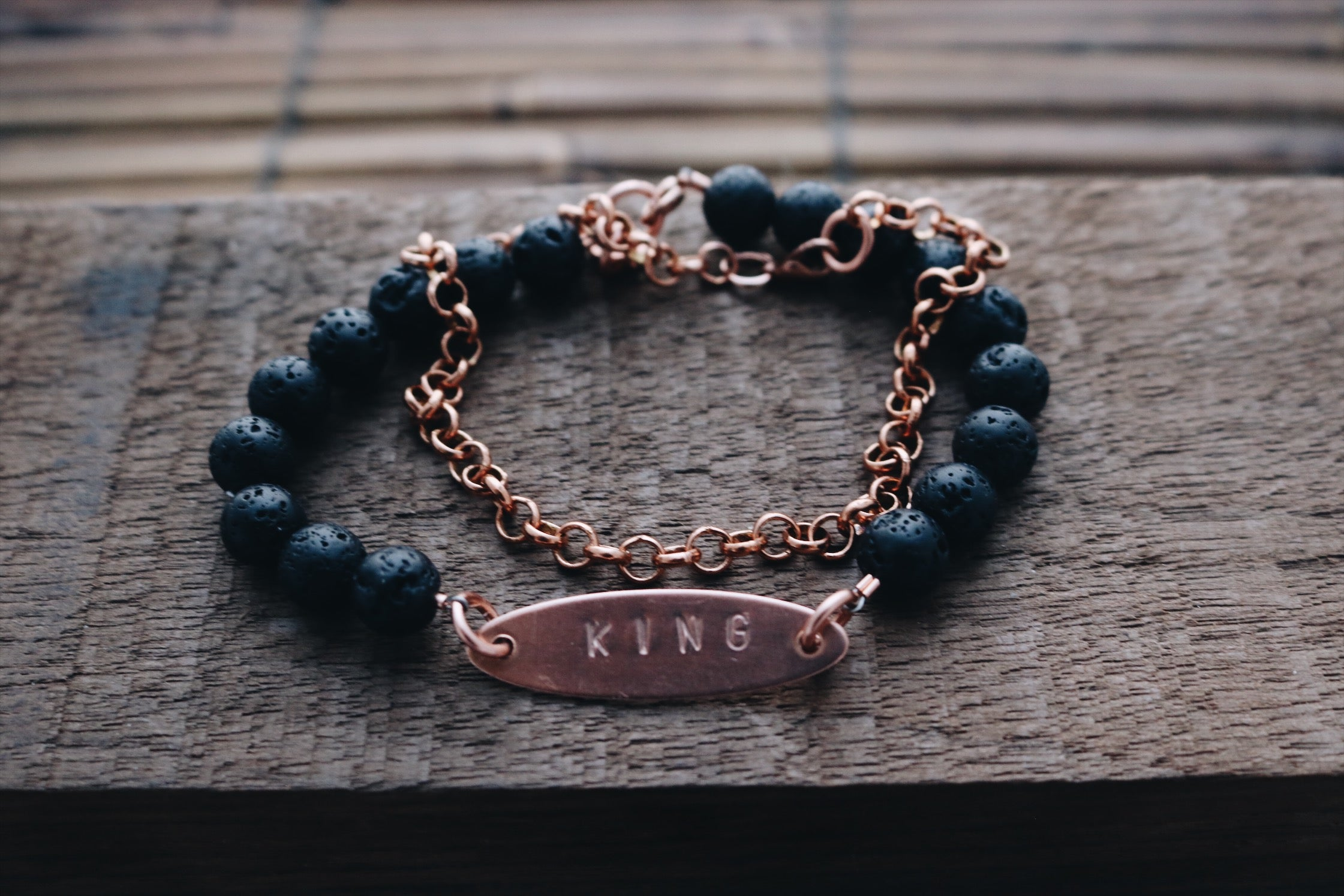 Men's black and copper bracelet set - Wild Child Dzigns