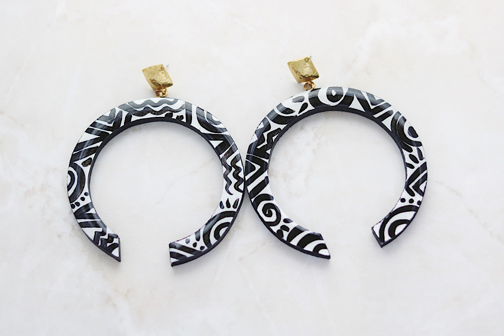 Black and white hoop earrings