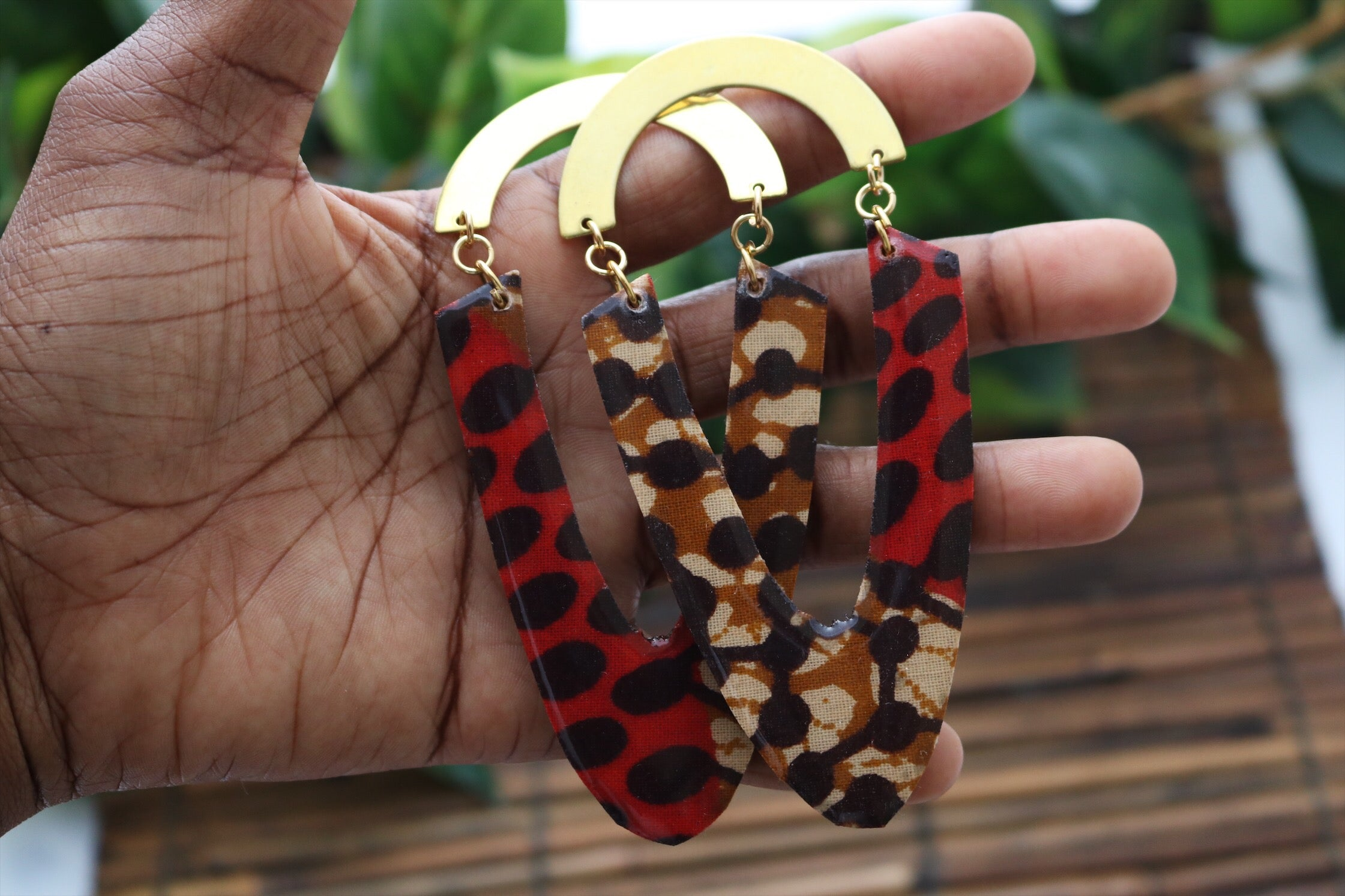 Large ankara earrings with brass - Wild Child Dzigns