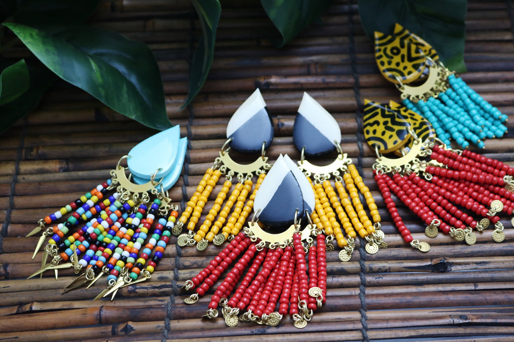 Wooden earrings with seed bead accents - Wild Child Dzigns
