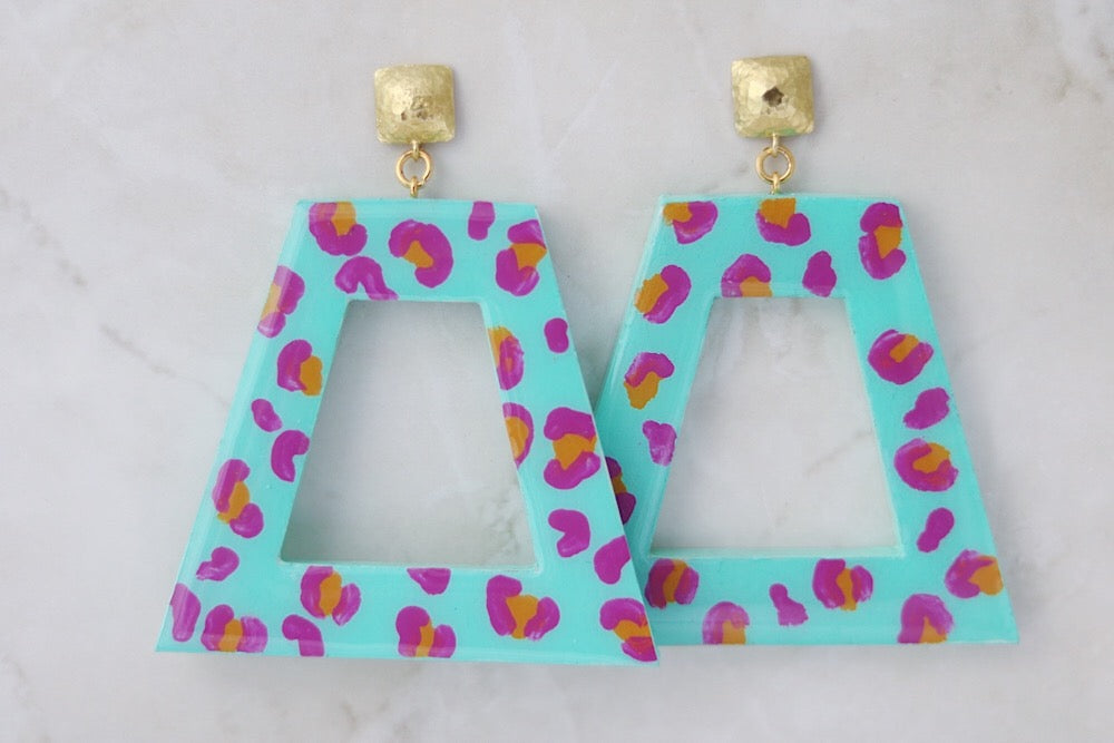 Leopard print knockers in turquoise. MEDIUM
