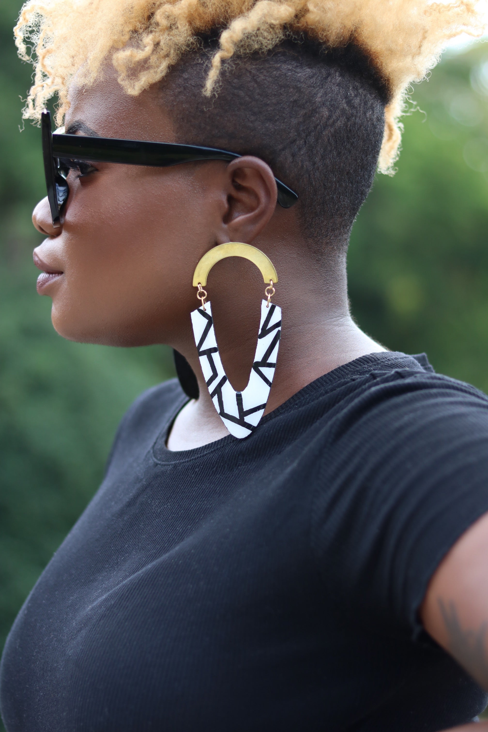 Black and white large wooden earrings with brass - Wild Child Dzigns