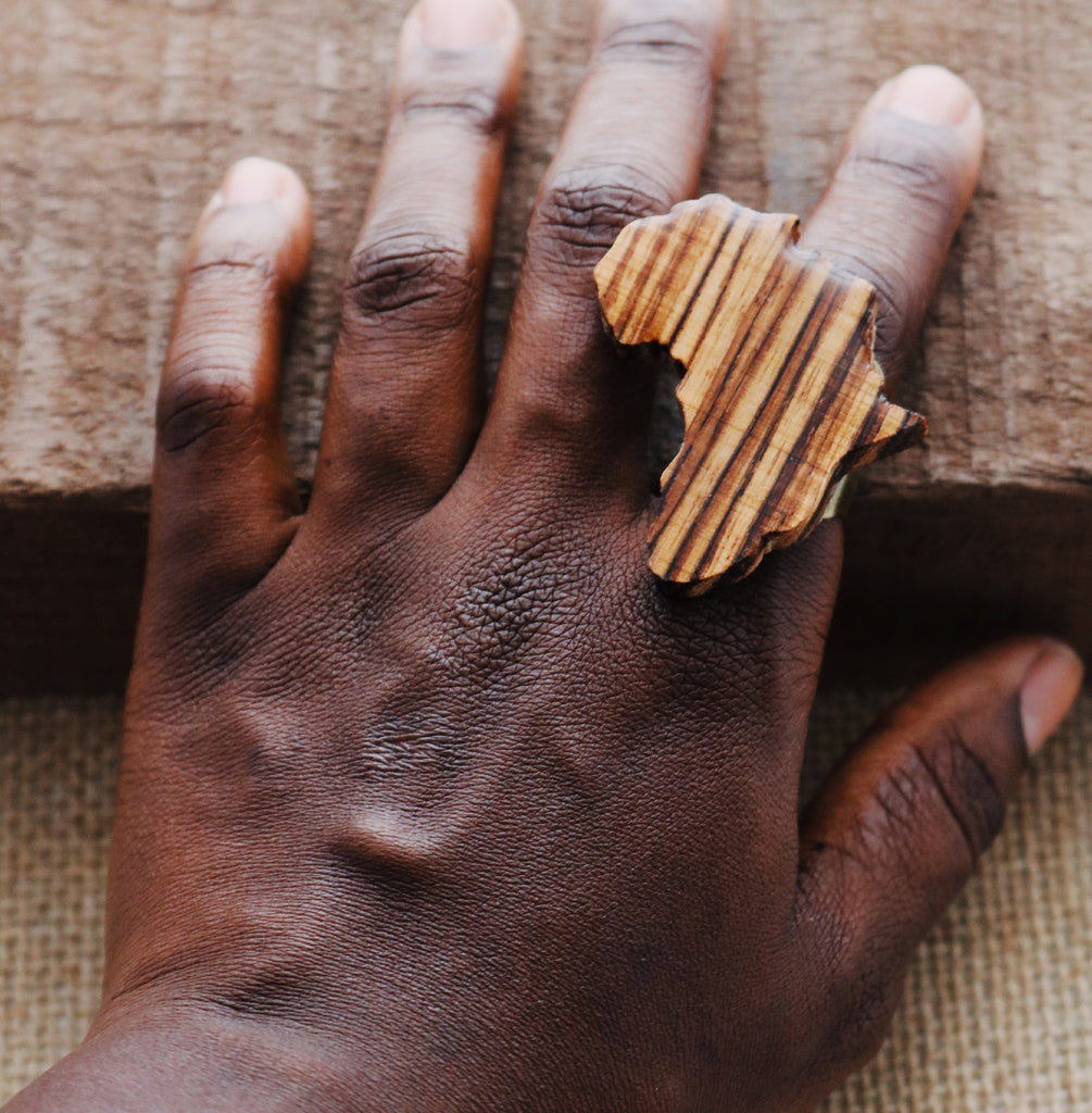 Wooden Africa ring - Wild Child Dzigns