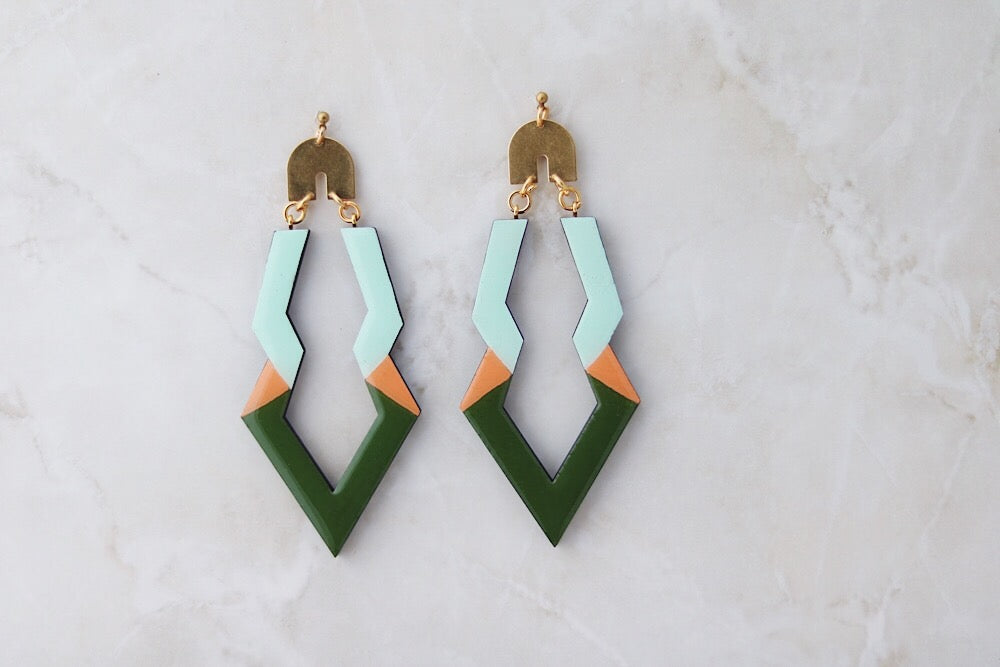 Green and peach wooden earrings WC17