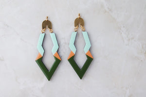 Green and peach wooden earrings