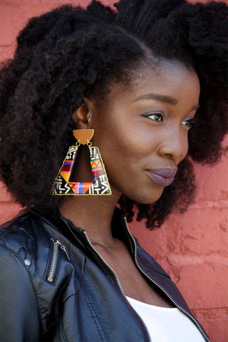 Painted door knocker earrings