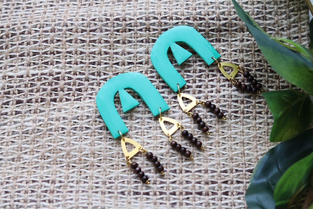 Teal earrings with wooden beads