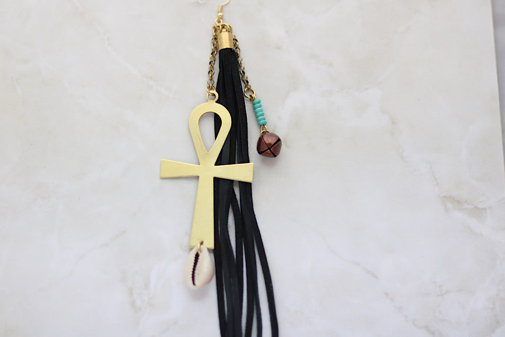 Single brass ankh and leather statement earring - Wild Child Dzigns