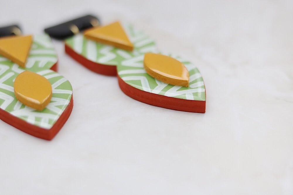 Lime wooden abstract earrings - Wild Child Dzigns