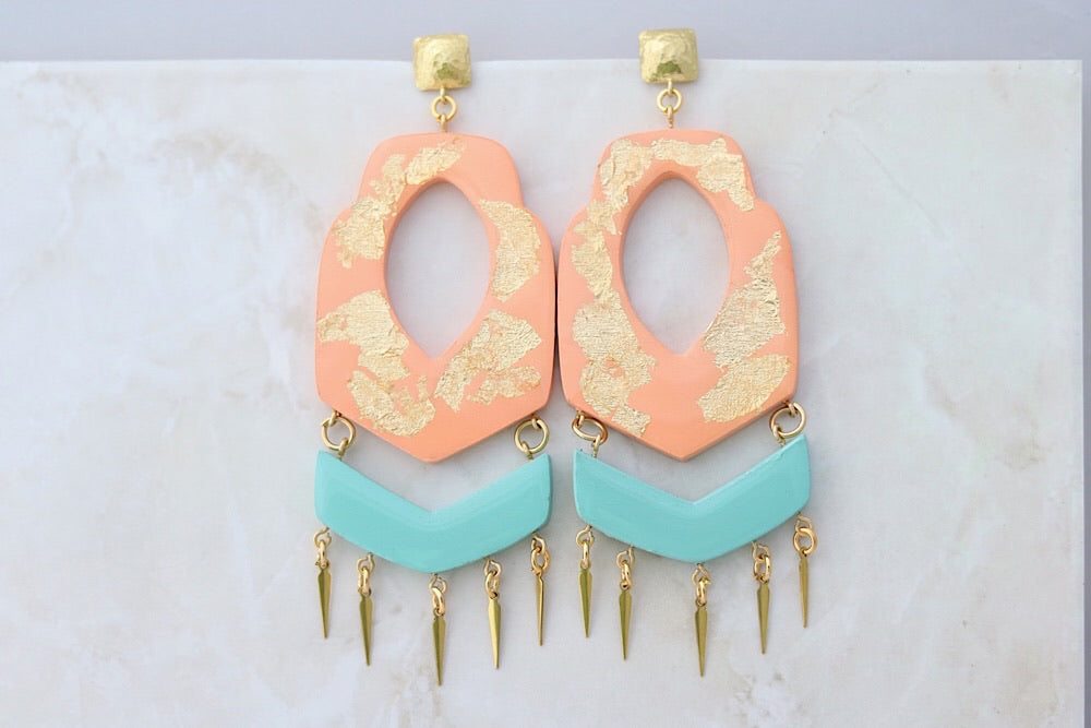 Gold foil earrings in peach