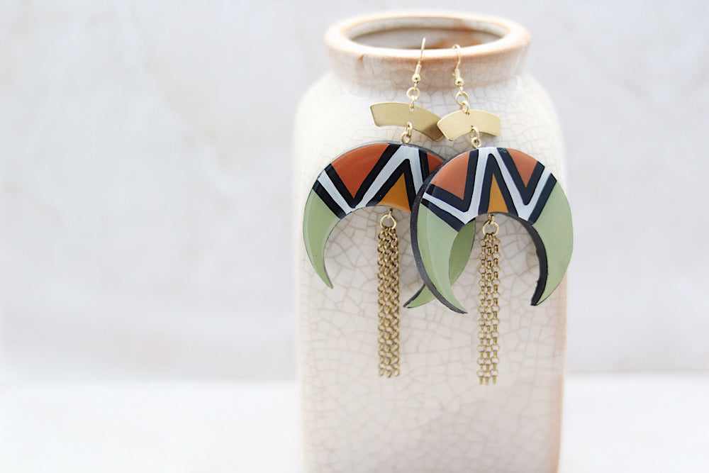 Wooden crescent earrings in sage green - Wild Child Dzigns