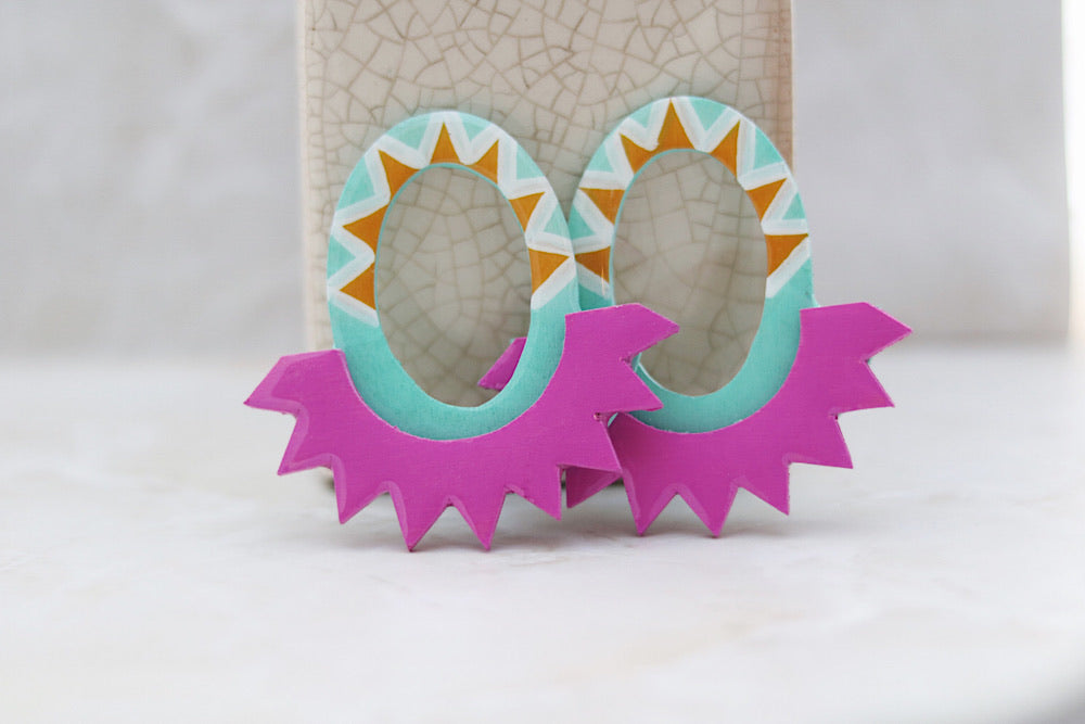 Spiked wooden statement earrings - Wild Child Dzigns