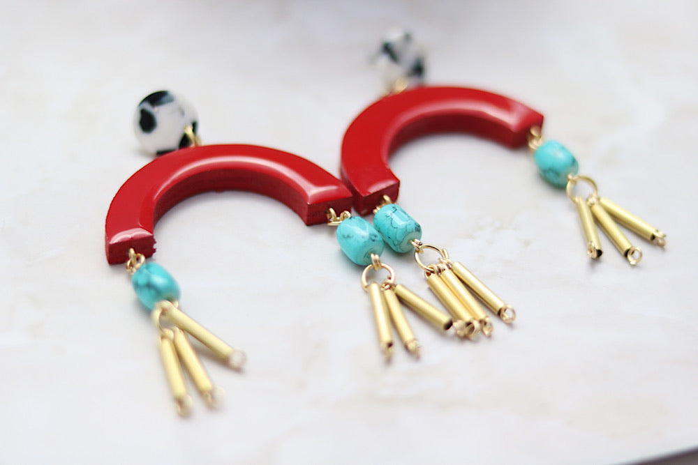 Red wooden earrings with beaded detail - Wild Child Dzigns