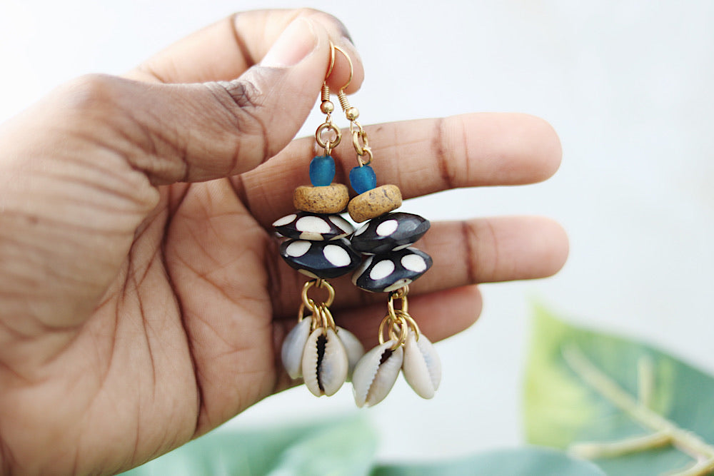 Polka dot batik earrings with cowrie shells