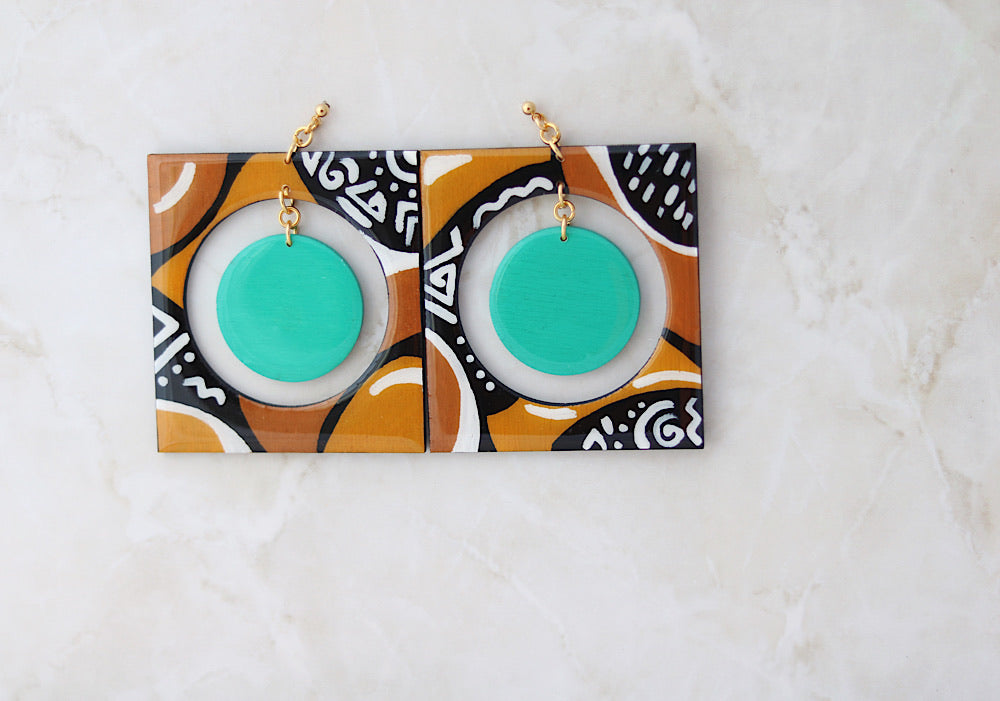 Mudcloth style painted earrings