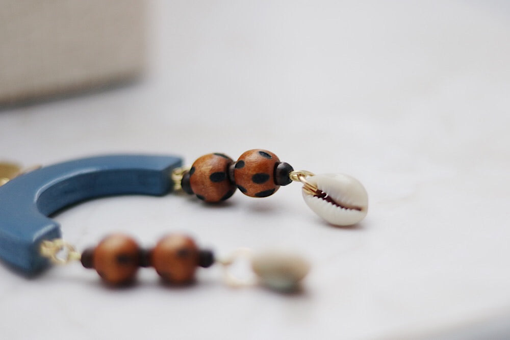 Denim blue wooden earrings with wood burned beads - Wild Child Dzigns