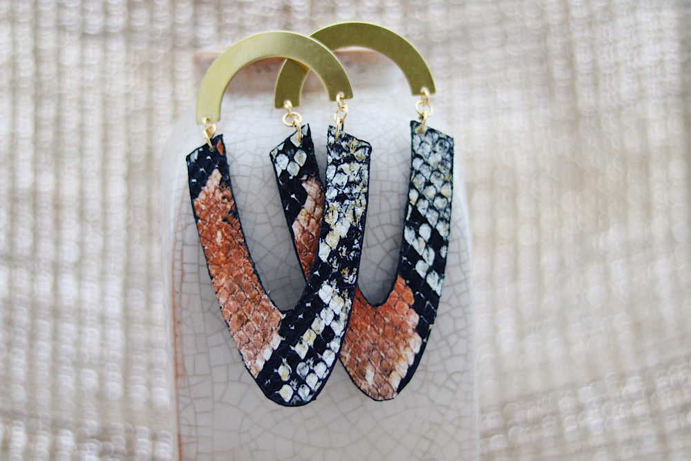 Faux snakeskin earrings with brass - Wild Child Dzigns