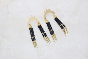 Matte black beaded spike earrings - Wild Child Dzigns