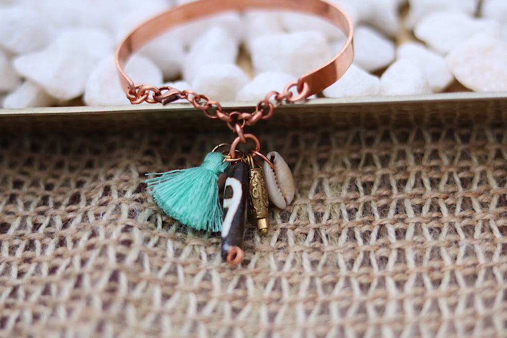 Copper charm bracelet - Wild Child Dzigns