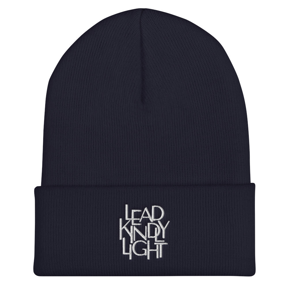 Lead Kindly Light Christian Catholic Beanie in Navy | PAL Campaign