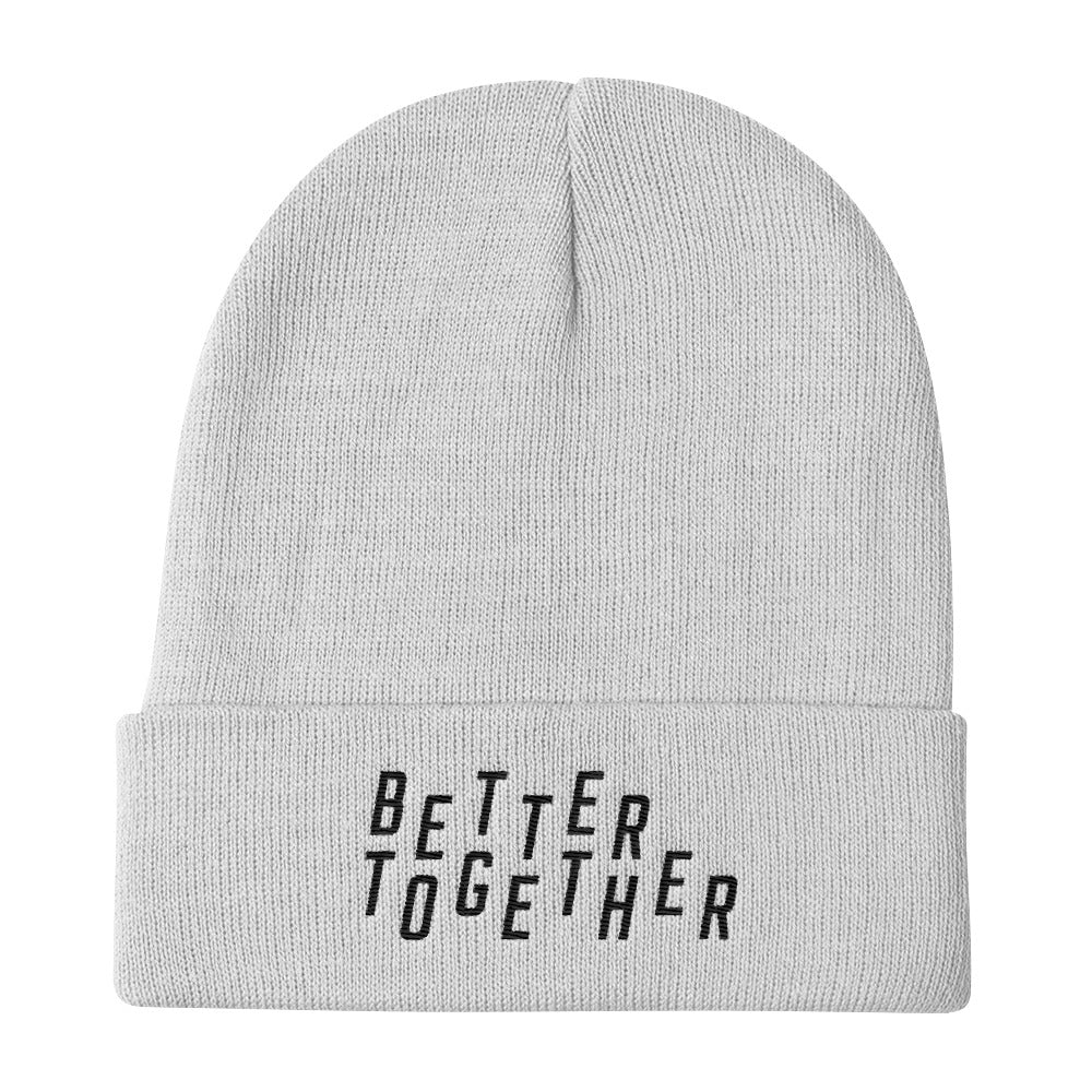 Better Together Christian Catholic Knit Beanie in White | PAL Campaign