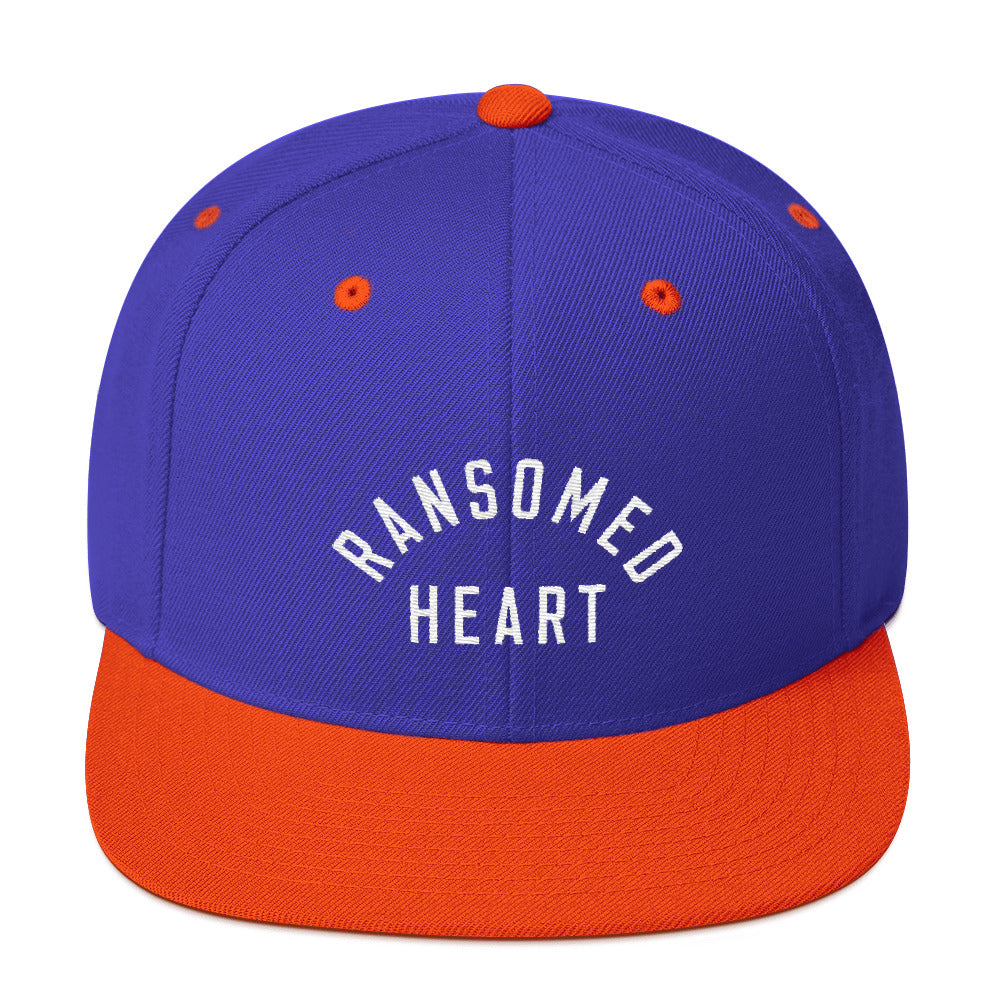 Ransomed Heart Christian Catholic Snapback Hat in Blue and Orange | PAL Campaign