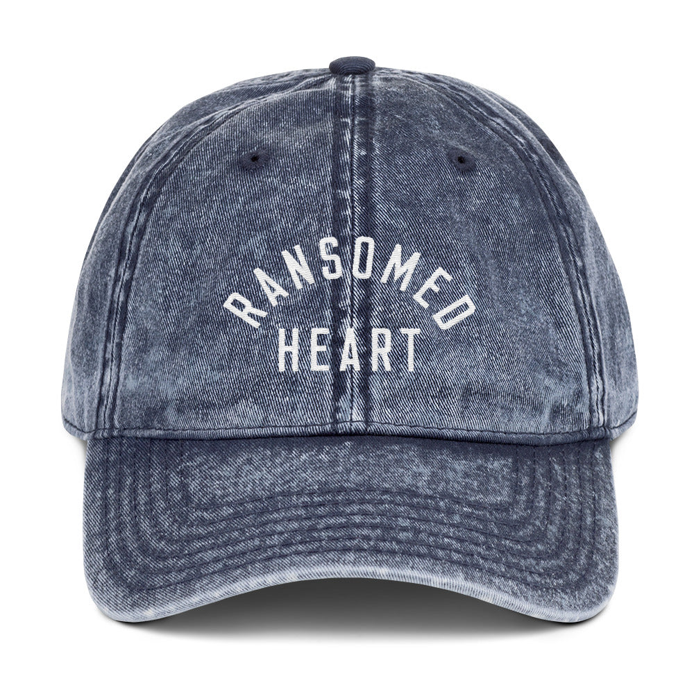 Ransomed Heart Christian Catholic Vintage Cotton Twill Cap in Navy | PAL Campaign