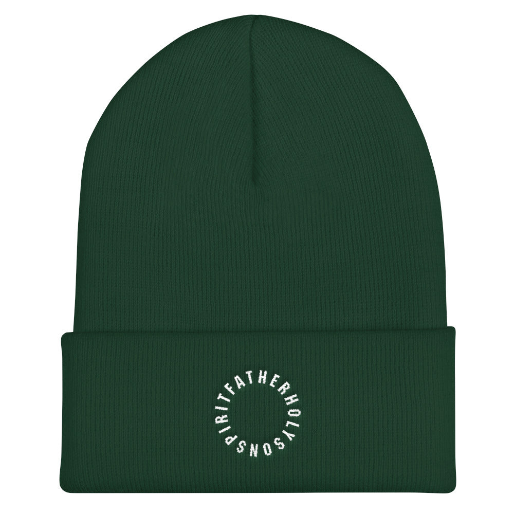 Sign of the Cross Christian Catholic Knit Beanie in Dark Green | PAL Campaign