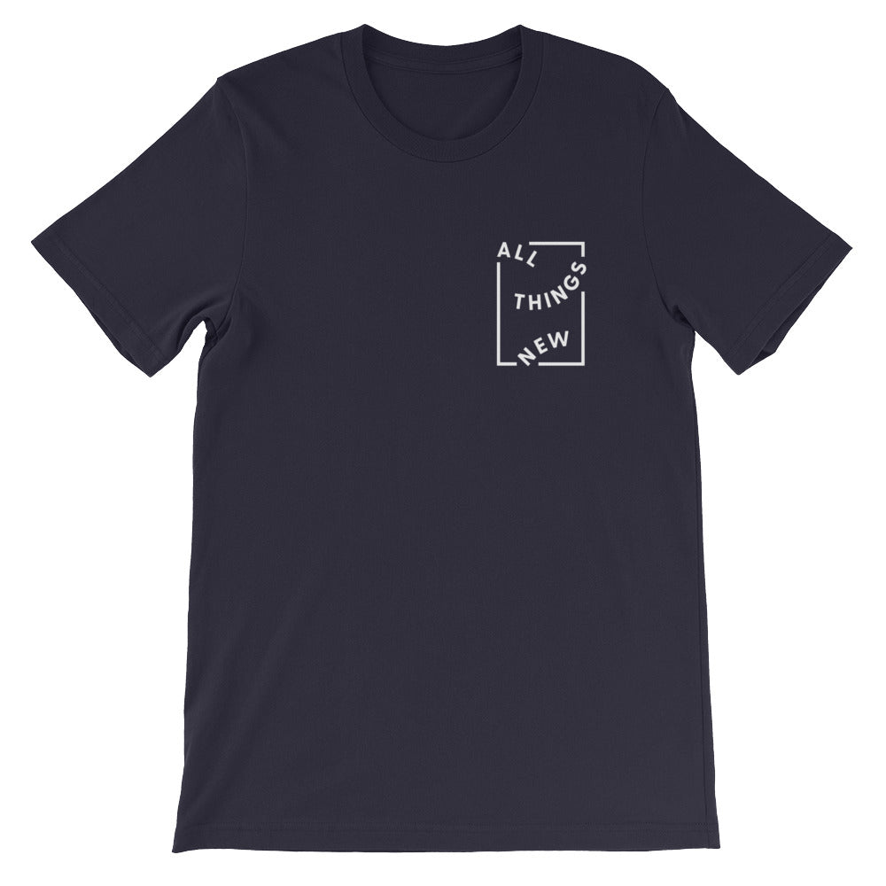 All Things New Christian Catholic T-Shirt in Navy | PAL Campaign