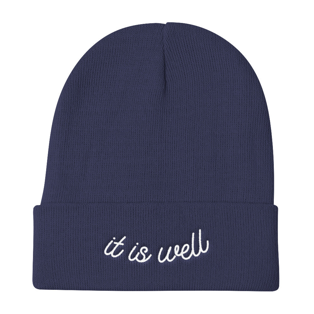 It Is Well Christian Catholic Knit Beanie in Navy | PAL Campaign