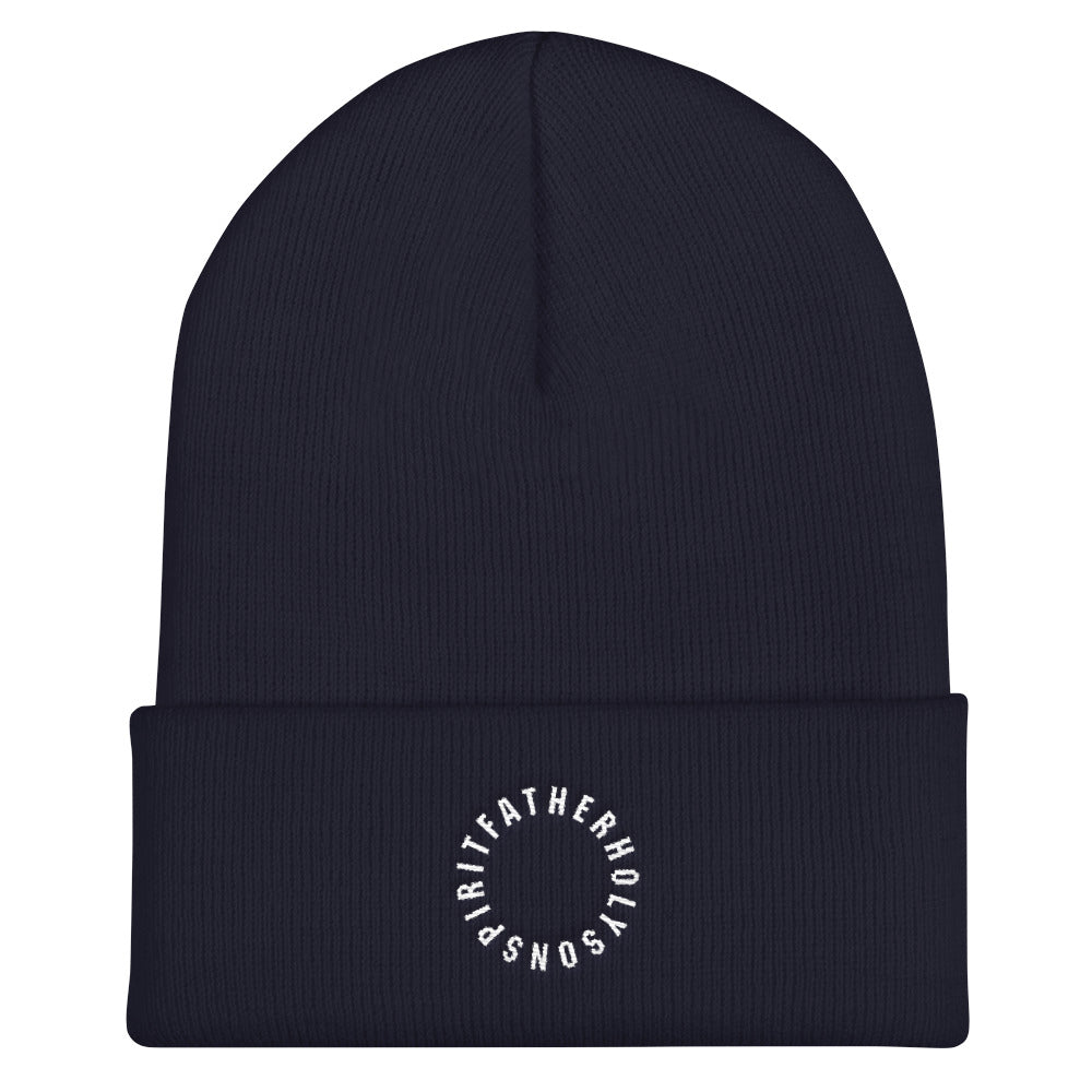 Sign of the Cross Christian Catholic Knit Beanie in Navy | PAL Campaign
