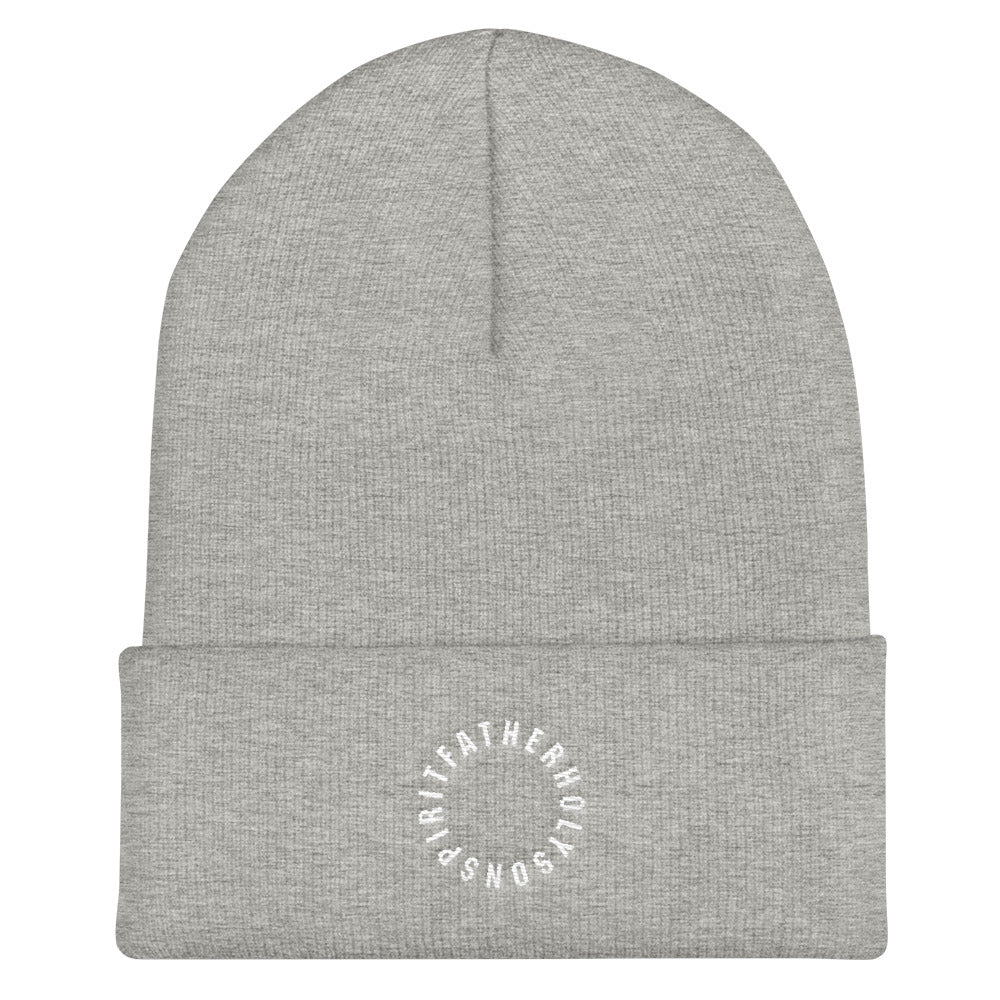 Sign of the Cross Christian Catholic Knit Beanie in Gray | PAL Campaign