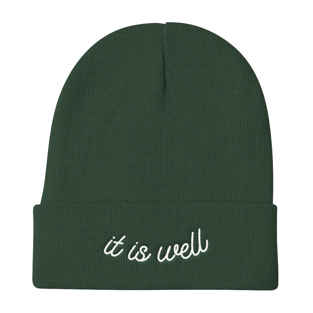 It Is Well Christian Catholic Knit Beanie in Dark Green | PAL Campaign
