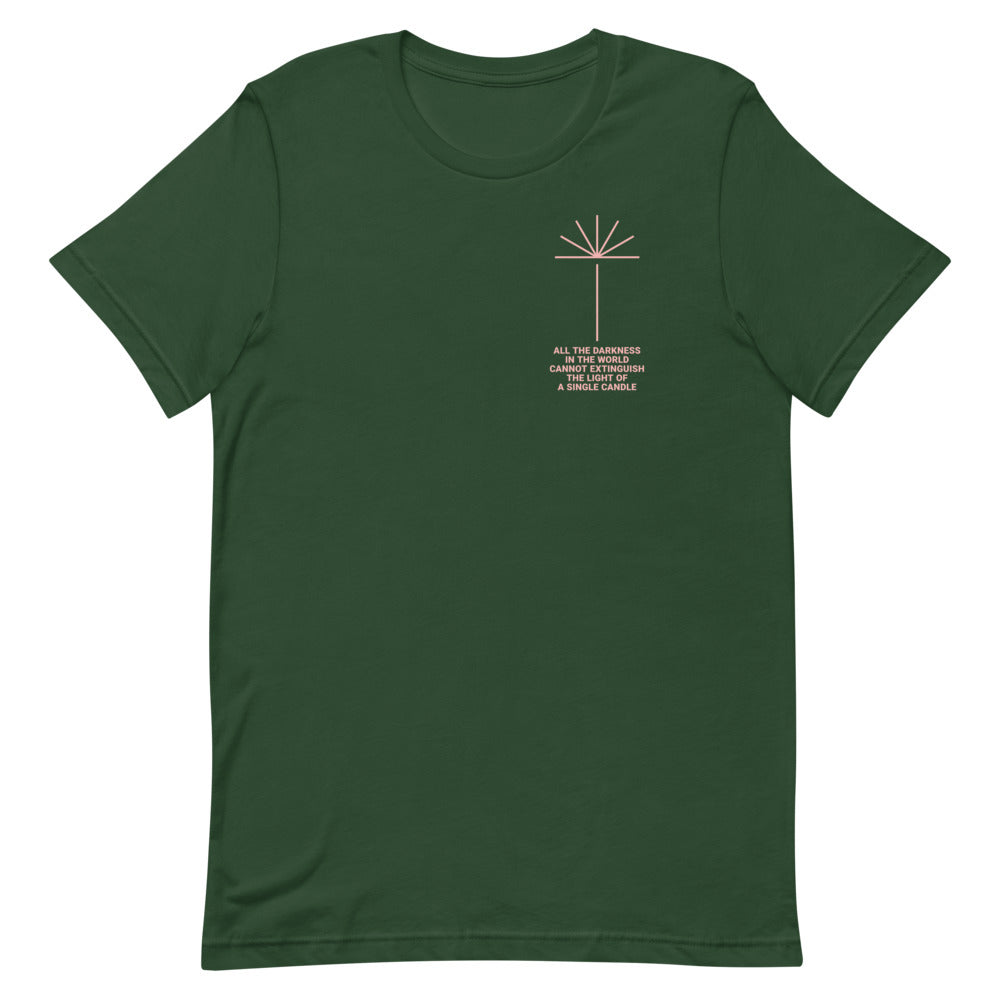 Candlelight Christian Catholic Unisex T-shirt in Forest | PAL Campaign