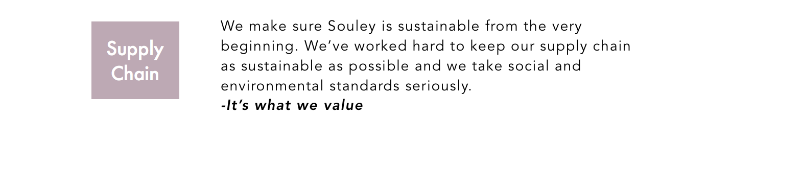 Sustainability Souley Clothing Supply Chain