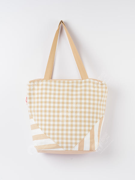 Shopping Bag - Gingham Check Beige