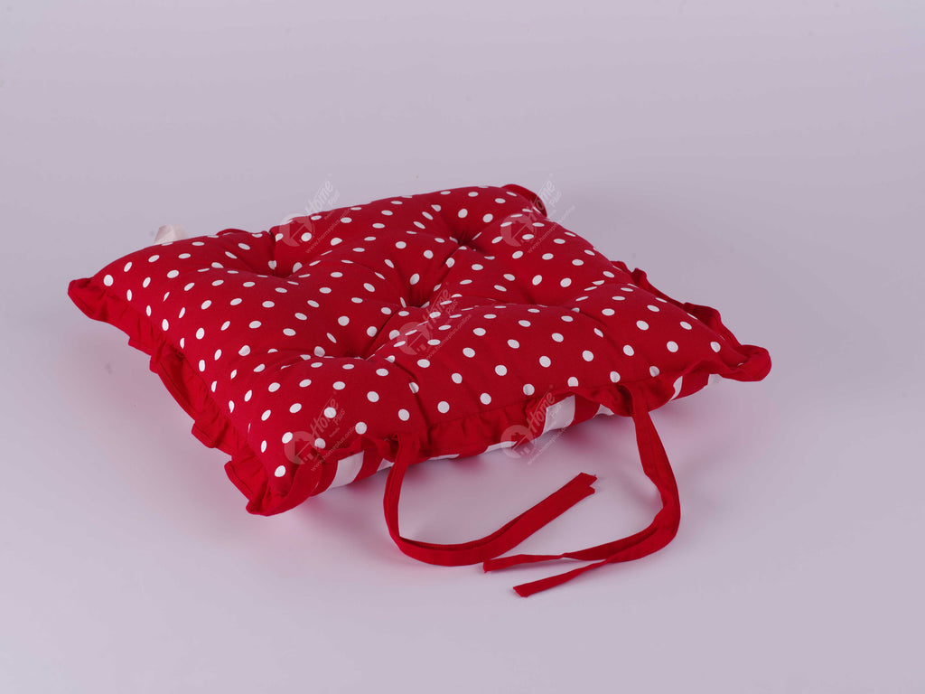 Frill Cushion - Polka Dot Red