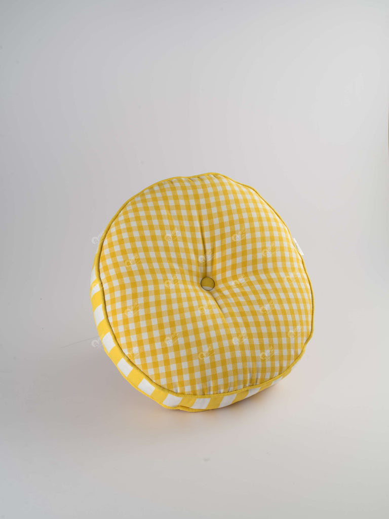 Floor Cushion R- Gingham Check Yellow