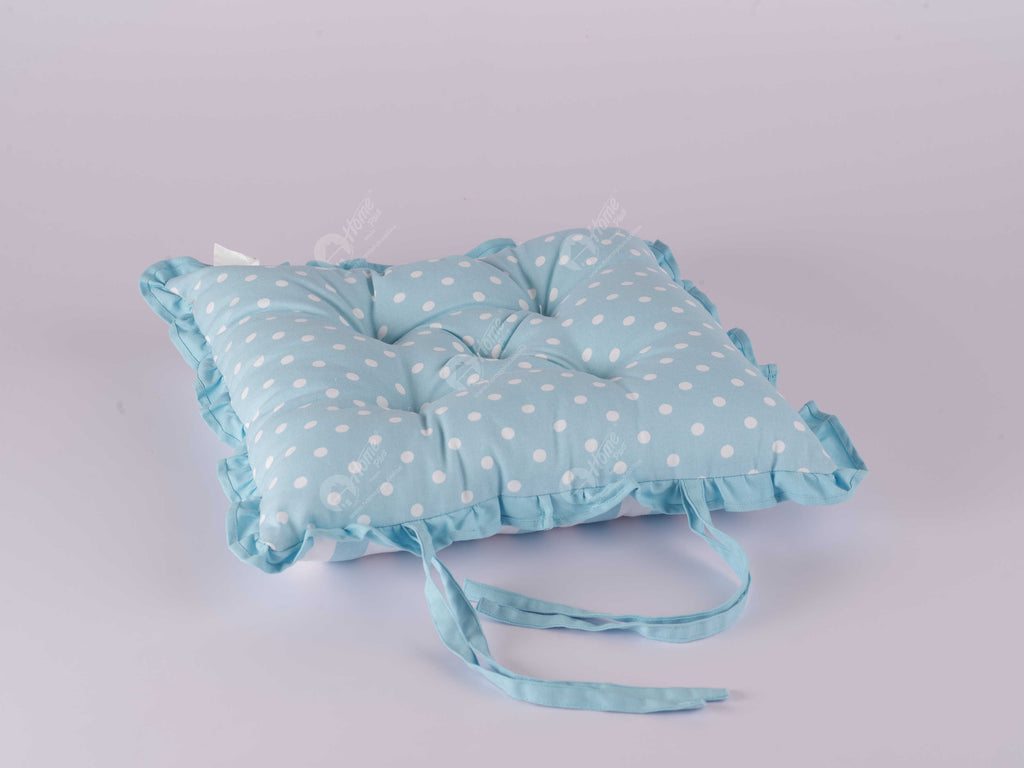Frill Cushion - Polka Dot Blue