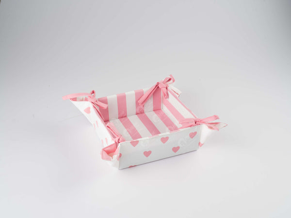 Bread Basket - Large Hearts pink