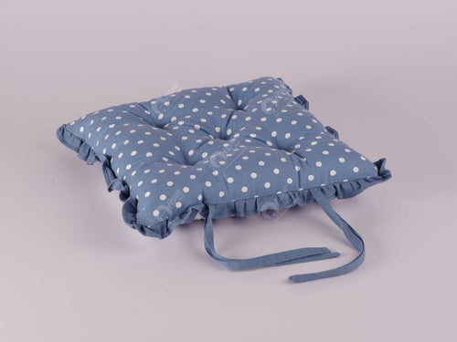 Frill Cushion - Polka Dot AF Blue