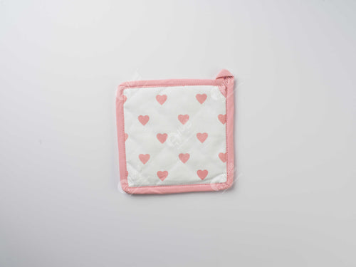 Pot Holder - Large Hearts Pink