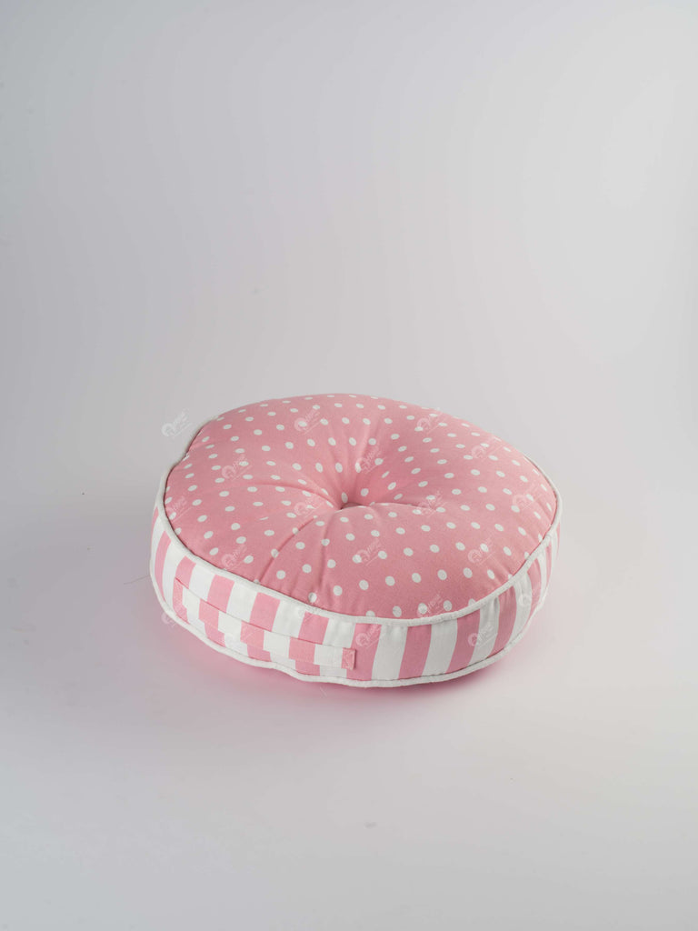 Floor Cushion Round R - Polka Dot Red