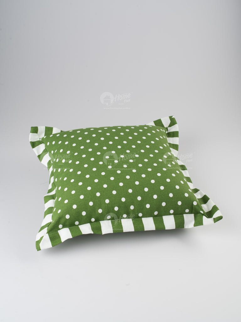 Flange Cushion - Polka Dot Dark Olive
