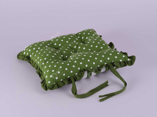 Frill Cushion - Polka Dot Dark Olive