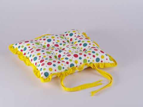 Frill Cushion - Multi Polka
