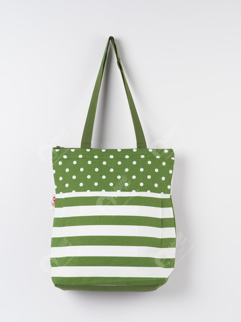 Shopping Bag - Polka Dot Dark Olive