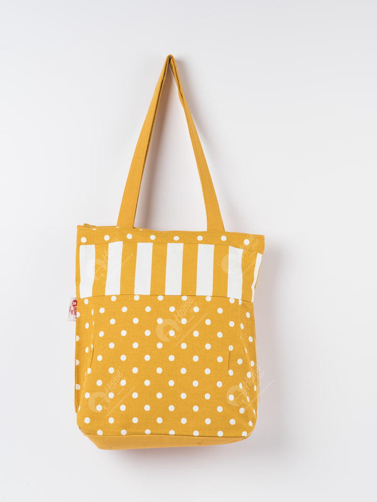 Shopping Bag - Polka Dot Mustard