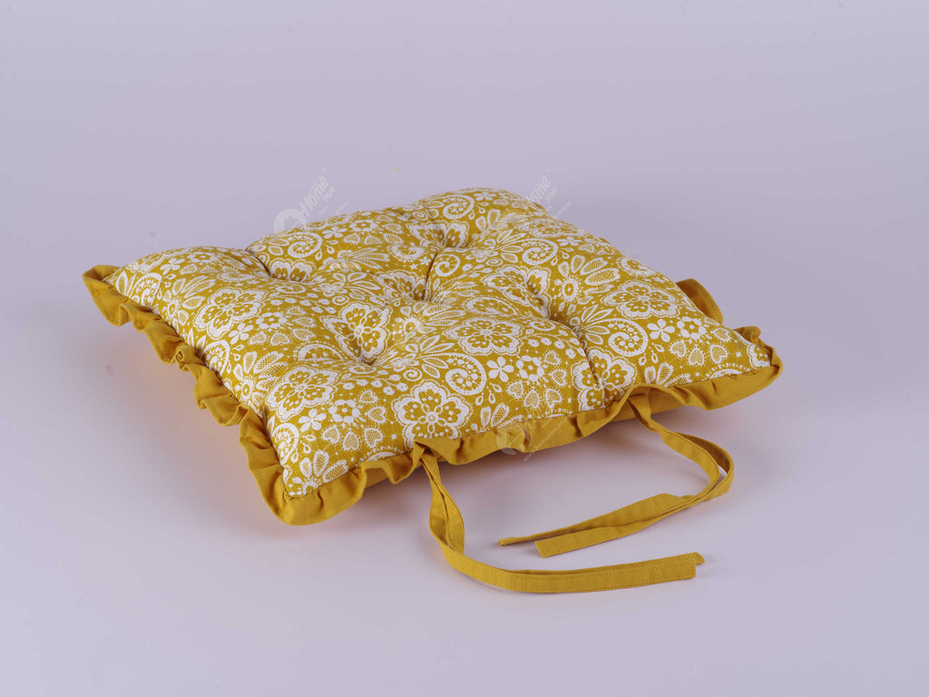 Frill Cushion - Lace Mustard