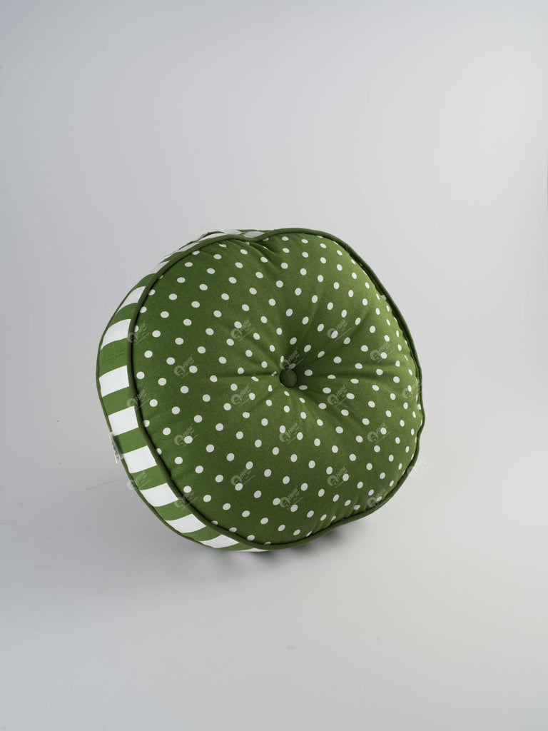 Floor Cushion R - Polka Dot Dark Olive